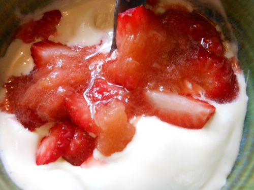 Icecream strawberries rhubarb