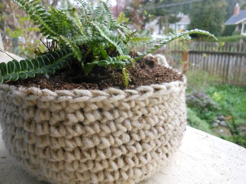 Crocheted planter