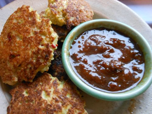Millet patties and plum sauce