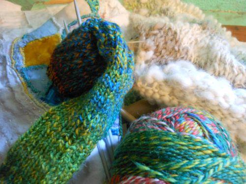 Alpaca scarf and one sock
