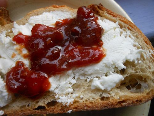 Tomato jam and cheese