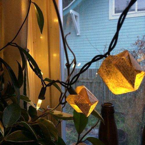 Origami balloons on lights