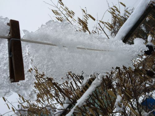 Clothes line with ice
