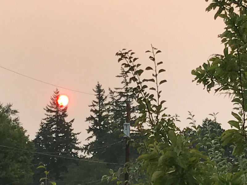 sunrise with smoke