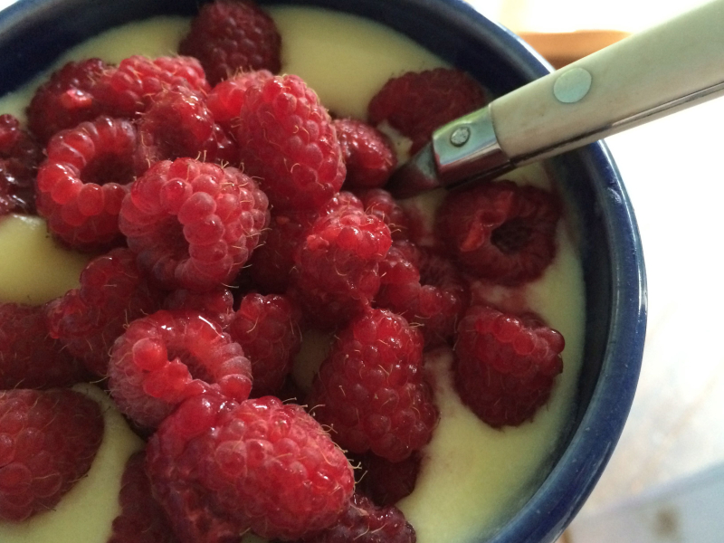 Pudding and raspberries