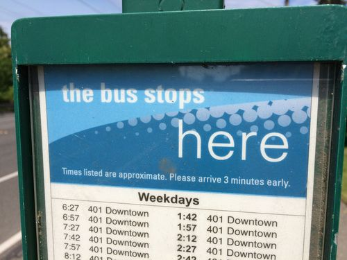 The bus stops here